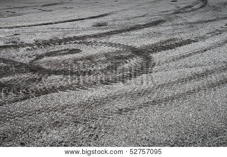 Braking Tracks On The Asphalt Road