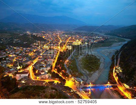 Berat in Albania at nighttime poster