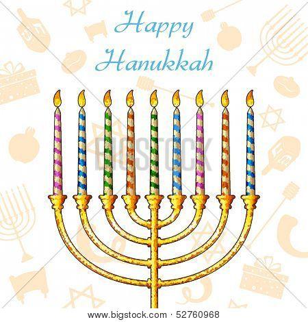 illustration of Hanukkah candle on festive pattern background