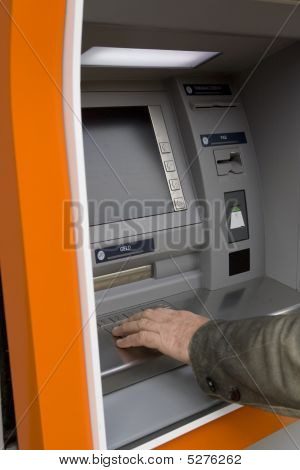 Male Hand At European Atm