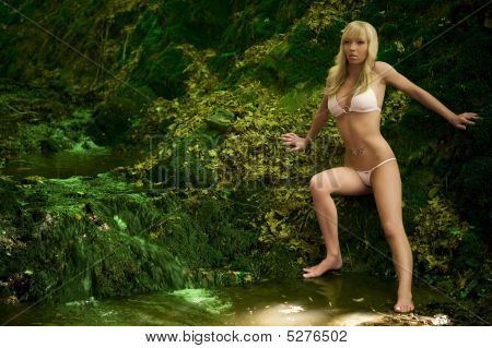 beautiful blond young woman poses with bikini in an small river poster