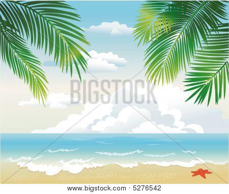 Tropical Beach With Palm Leaf