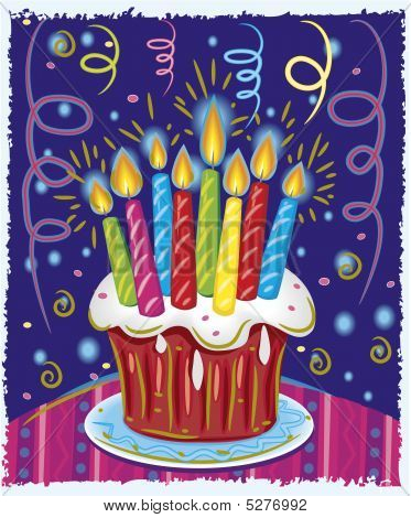 Birthday Cake With Candles. Vector Illustration