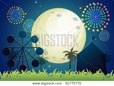 Illustration of a carnival under the bright fullmoon