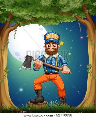 Illustration of a woodman standing in the middle of the trees