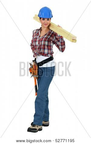 Craftswoman holding a board