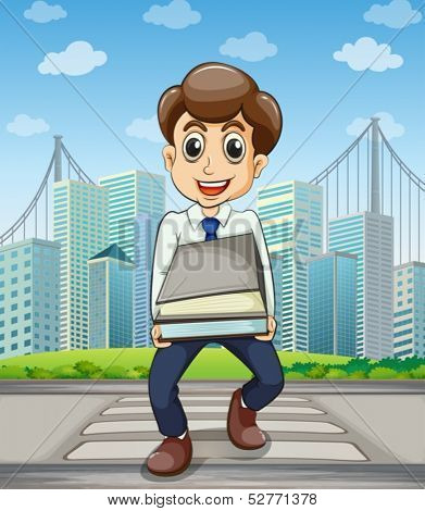 Illustration of a happy employee crossing the street with a lot of documents in his hands