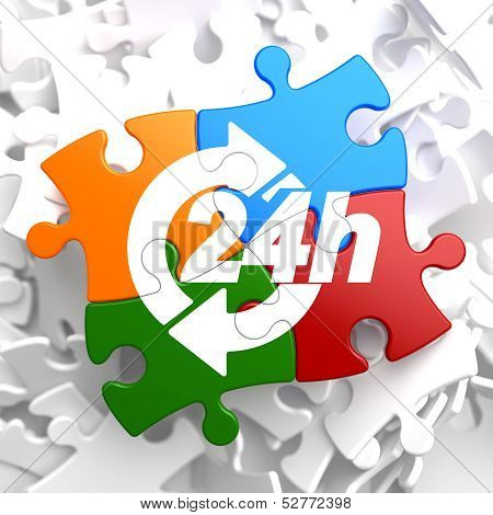 24 Hours Icon on Multicolor Puzzle. Service Concept. poster