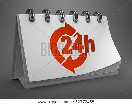 White Desktop Calendar with Red 24 Hours Icon on Gray Background. Service Concept. poster