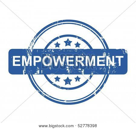 Business Empowerment blue stamp with stars isolated on a white background.
