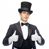 magic, performance, circus, show concept - magician in top hat showing thumbs up poster