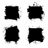 Collection of four ink splats with grunge effect and room for text poster