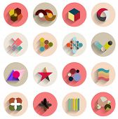 Vector set of geometric abstract flat icons. Can be used for business template / presentation / mobile phone icons poster