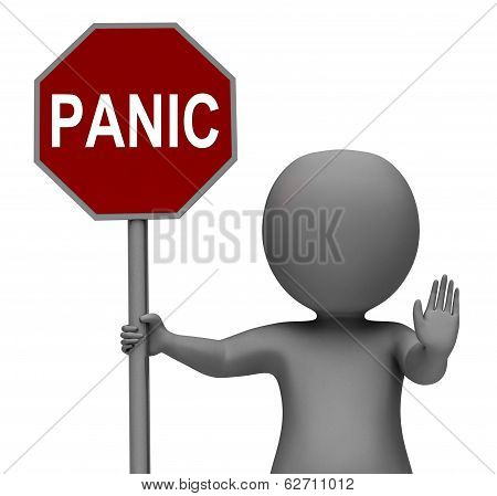 Panic Stop Sign Showing Stopping Anxiety Panicking poster