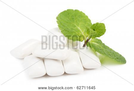 Chewing gum with mint taste,  isolated on white
