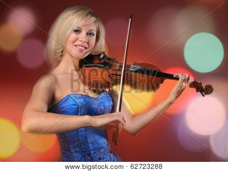 Woman The Violinist Plays Violin