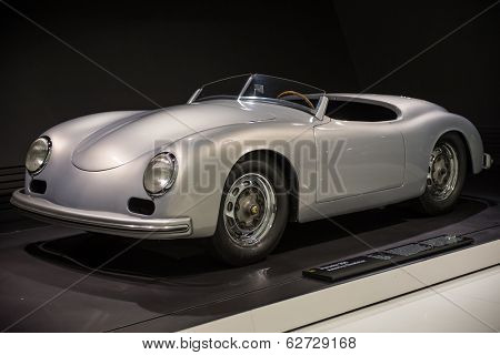 STUTTGART, GERMANY - CIRCA APRIL, 2014: Porsche Museum. PORSHE 356 America Roadster (1953)