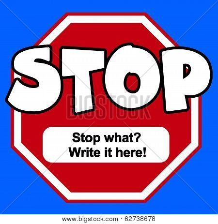 Cartoon Stylel Stop Sign With Copy Space
