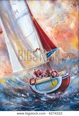 Three Seamen On A Sailing Boat