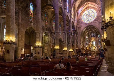 Interior Of Cathedral Of Santa Maria Of Palma (la Seu)