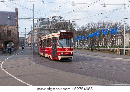 Tram Near The Dutch Parliament Buildings of The Haque