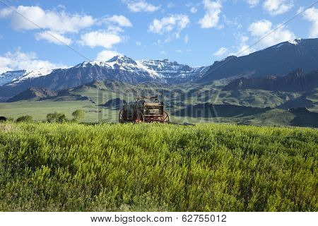 Old Covered Wagon In The Absaroka Mountains Of Wyoming