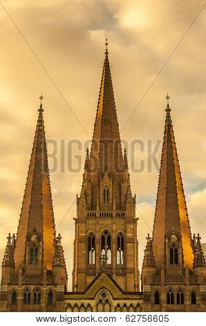 Golden glow on St Paul's Cathedral in Melbourne