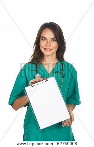 Medical sign. Young female doctor {or nurse or student) showing empty blank clipboard sign with copy space poster