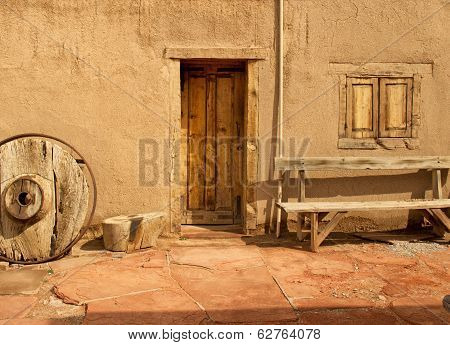 Front entrance of an adobe home