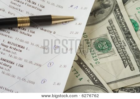 Sports Betting Slip And Pencil