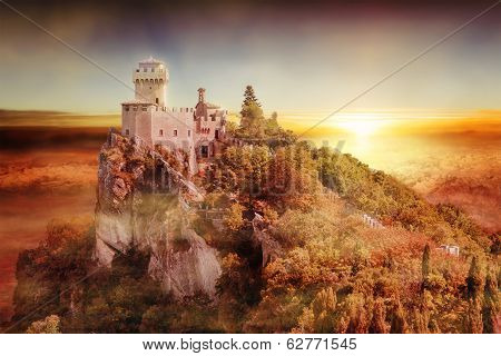 Artistic View Of San Marino Tower: The Cesta Or Fratta At Sunset