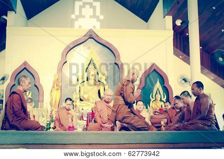 Phangnga,thailand February 08 : Newly Ordained Buddhist Monk Pray With Priest Procession .newly Orda