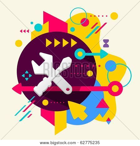 Tools screwdriver and wrench on abstract colorful spotted background with different elements. Flat design for the web print banner advertising. poster