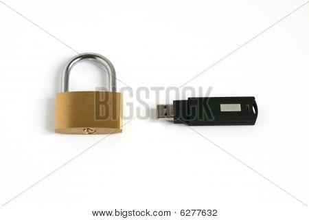 Locked Closed Padlock With Usb Memory Stick