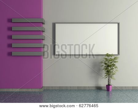 Modern Home Interior With Pot Plant And Painting. 3D.