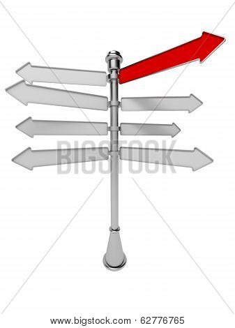 Signpost With Red Arrow Isolated On A White Background. Advertising Pointer. 3D.