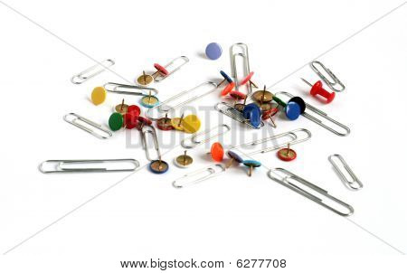 Paper Clips And Drawing Pins Many Colors