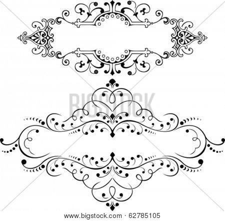 Set Of Two Vintage Ornate Curves Elements