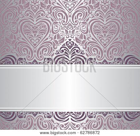 pink & silver vintage invitation design