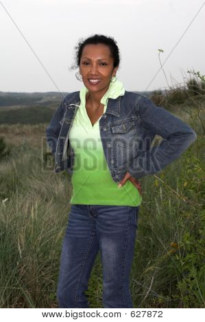 Beautiful Black Woman In The Dunes