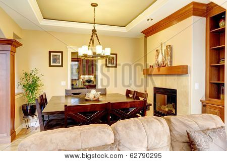 Luxury Dining Room With Fireplace