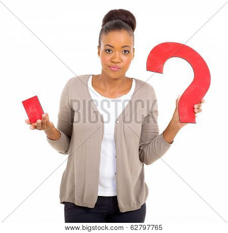 clueless african woman with paper question mark on white background