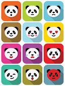 Panda bear flat emotions icons set with long shadows. poster