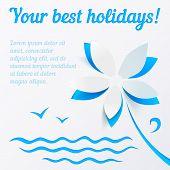 Cutout paper flower blue summer vector background poster