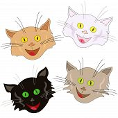 Set of four funny cheerful cat faces as masks isolated on a white background cartoon vector illustration poster