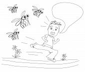 boy runs away from mosquitoes doodle illustration poster