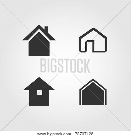 House icons set, flat design