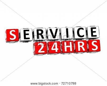 3D Word Service 24 Hrs On White Background