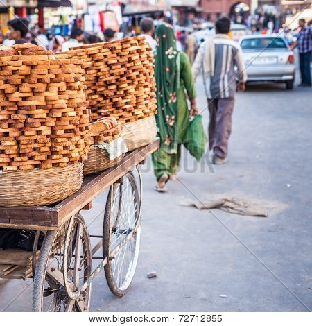Bread For Sale At Local Market In India.
