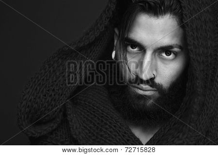 Fashionable Man With Beard And Wool Scarf